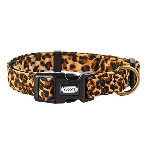 YUDOTE Verstellbares Nylonhalsband mit weichem Beflockungsstoff mit elegantem Leopardenmuster für kleine Hunde, Halsumfang 25–38 cm