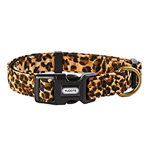 YUDOTE Designer Dog Collars with Animal Print, Adjustable Pet Collars for Small Medium Large Dogs and Puppies, Leopard, Tiger, Zebra Pattern, Well Made, Soft & Comfy