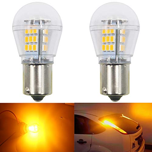 AMAZENAR 2-Pack 1056 BAU15S 7507 12496 5009 PY21W Extremely Bright Amber/Yellow LED Light 9-30V-DC, 2835 33 SMD Replacement Bulbs for Turn Signal Lights Blinker
