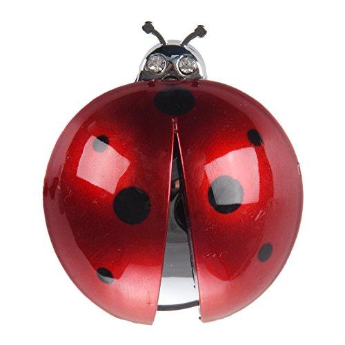 SODIAL(R) Ambientador Purificador de fragancias diseno de mariquita de salida de aire del coche Rojo oscuro