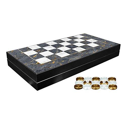 WYFX Juego de Backgammon de mármol Gris clásico, Juegos de Mesa Familiares de Primera Calidad, Regalo para cumpleaños, Mujer, Hombre, Amigo