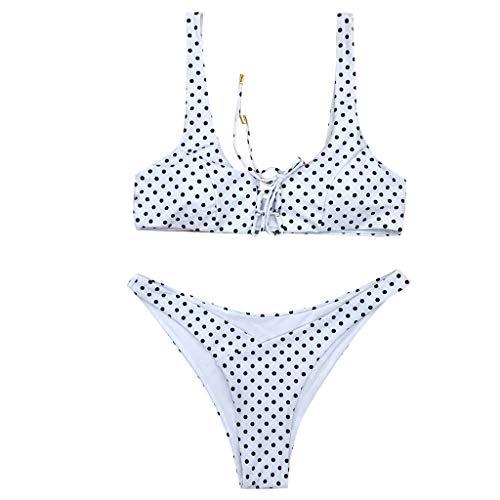HJuyYuah Women Bikini Set Swimming Costume Padded Swimsuit Bandage Push Up Beachwear Bathing Suit (S, White)