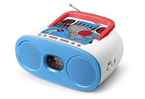 Muse M-20 KDB CD-Radio für Kinder (CD, AUX-In, LCD-Display, Teleskopantenne, Netz- oder Batteriebetrieb), Blau / Weiß mit Comic-Motiv