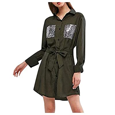 Oyedens Women Fashion Long Sleeve Leisure Dress Patchwork Sequin Pocket Loose Long Dress Army Green from Oyedens
