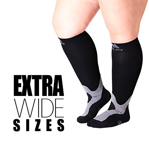 XX-Large Mojo Plus Size Compression Socks 20-30mmHg for Men \u0026amp; Women - Soft Breathable, Easy to get on. Medical Graduated Support Sock Made in Taiwan - Black 2XL A601BL5
