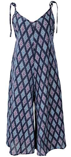 Guru-Shop Boho Jumpsuit, 3/4 Sommer Overall, Hosenkleid, Damen, Ikat Blau, Baumwolle, Size:40, Lange Hosen Alternative Bekleidung