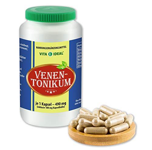 VITAIDEAL ® Venen-Tonikum 90 Kapseln je 490mg, mit Olivenblätter, Weisdorn, Rosmarin, Mäusedorn, rotes Weinlaub, Rosskastanienfrüchte, ohne Zusatzstoffe von NEZ-Diskounter