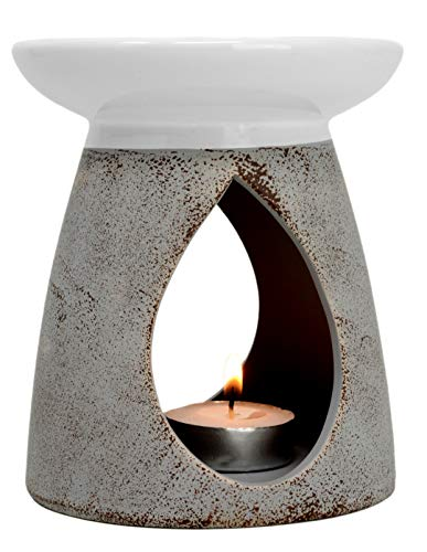 Großer, grauer Keramik-Ölbrenner, Höhe: 13cm.mit Geschenk-Box, keramik, grau, 13x11x11 cm