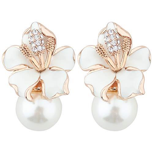Mecool - Orecchini pendenti da donna, con perle finte e zirconia cubica, smaltati, colore: Bianco