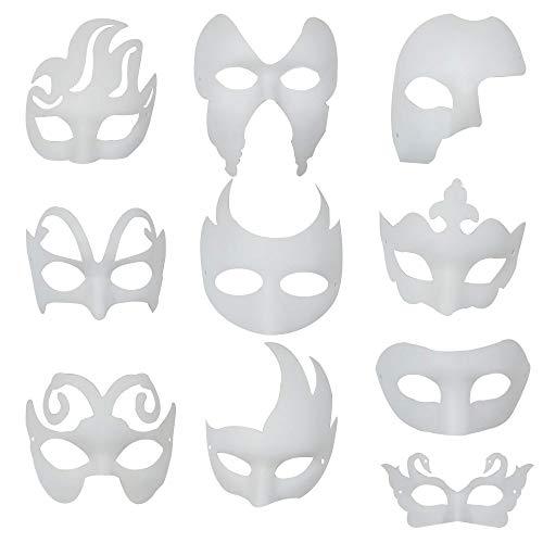 Máscara Blanca, 10 Piezas Máscara Blanca Pintar De Disfraces Decoración De Bricolaje Carnaval De Veneciano para el Carnaval de Halloween Máscara Diseño