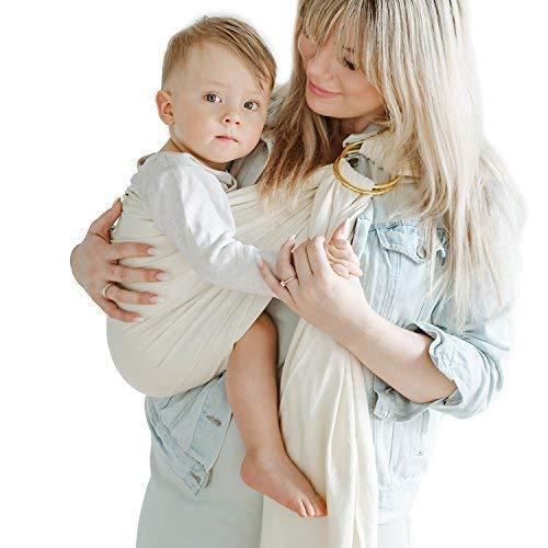 Shabany® - Ring Sling Tragetuch - 100% Bio Baumwolle - Babybauchtrage für Neugeborene Kleinkinder bis 15 KG - inkl. Baby Wrap Carrier Anleitung - beige (dances)