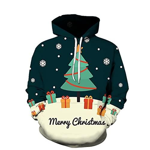 XDJSD Suéter para Hombre, Sudadera con Capucha para Hombre, Suéter con Estampado De árbol De Navidad, Sudadera De Gran Tamaño, Sudadera con Capucha, Camiseta Deportiva , Uniformes De Béisbol Y Mujer