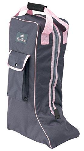 Equi-Theme/Equit'M Boots Tasche, Grau/Rosa Piping, Nicht zutreffend