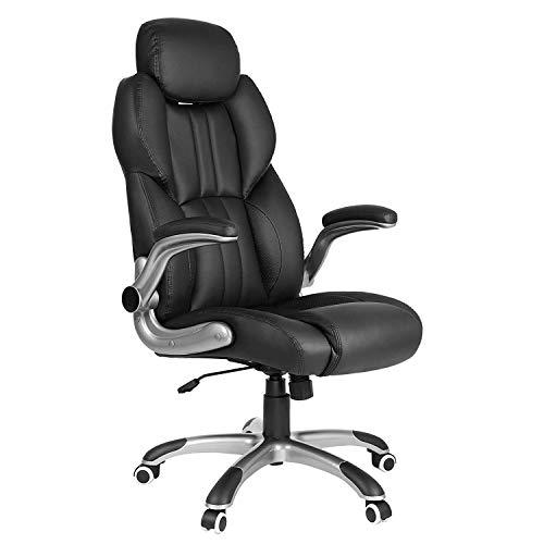 SONGMICS Office Chair with Adjustable Headrest, High Back 81 cm, Racing Sport Swivel Chair, Flip-Up Armrest Executive Chair PU, Black OBG65BKUK