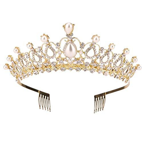 Lurrose Strass en forme de larme de mariée couronne de perles diadème avec peignes latérales pour la noce (or)