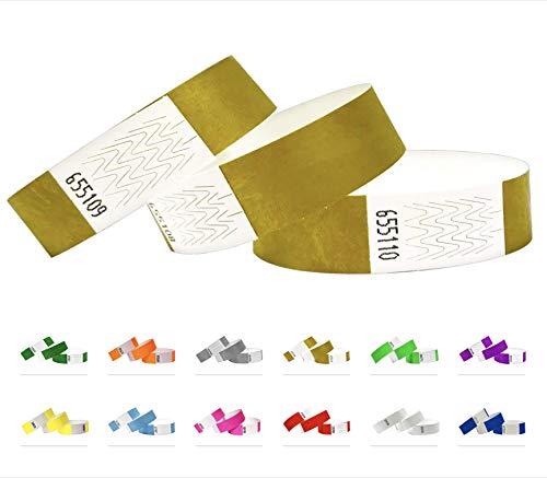 500 Eintrittsbänder aus Tyvek, GOLD - Party Einlassbänder, Securebänder, Festival Armbänder, Kontrollbänder für dein Event