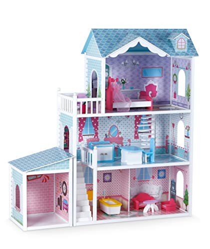 Small Foot 11068 Puppenhaus Deluxe-Villa aus Holz, 3 Etagen mit Garage inkl. 12 Möbel, Spielspaß ab 8 Jahren Spielzeug, Mehrfarbig