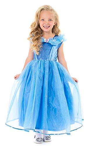 Little Adventures Deluxe Cinderella Butterfly Princess Dress Up Costume for Girls (X-Large Age 7-9) Blue