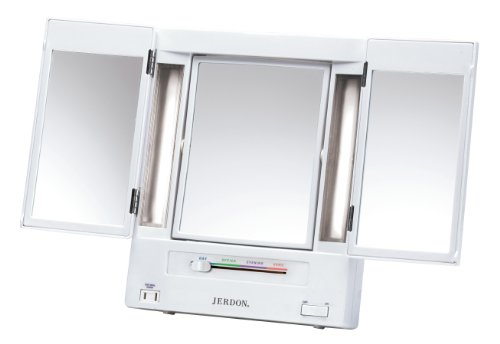 Our #7 Pick is the Jerdon Tri-Fold Two-Sided Lighted Makeup Mirror