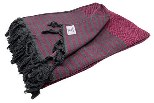 Bella Casa KELIM LUX Tagesdecke Bettüberwurf Überwurf Plaid Baumwolle 205x260 cm (Pink)