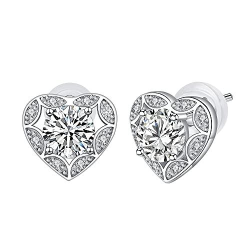 Arrebol Orecchini Cuore Donna Argento Sterling 925 Zirconi 3A ,Confezione regalo di San Valentino