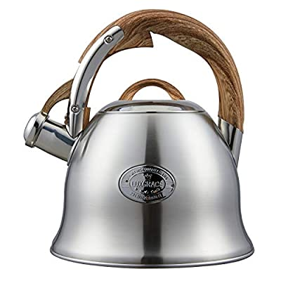 Tea Kettle for Stove Top Whistling,2.0 Quart Teapot for Stovetop Wooden Anti-Heat Pattern Handle With Loud Whistle, Food Grade Stainless Steel Tea Pot Water Kettle(Silver-RW)