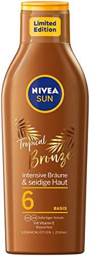 NIVEA SUN Tropical Bronze Sonnenlotion LSF 6 (200 ml), Sonnenschutz für langanhaltende Bräune ohne Selbstbräuner, Sonnencreme mit Carotin-Extrakt und Vitamin E
