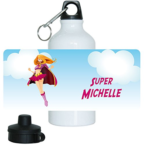 Trinkflasche mit Namen Michelle und schönem Superheldin-Motiv für Mädchen