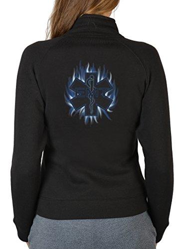Feuerwehr Motiv Damen Zip Pullover Rettungsdienst Zipshirt : Emergency -- bedruckter Damen Zip Sweater Größe S Farbe schwarz