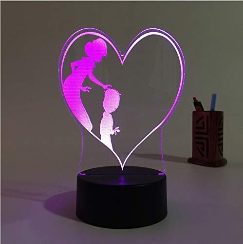 Djkaa Cadeaux De Fantaisie Maman Fils Amour 3D Led Lampe 7 Couleurs Changeantes Veilleuses Pour Cadeau De Fête Des Mères Pour Lampe De Table De Bureau Cadeau Du Nouvel An