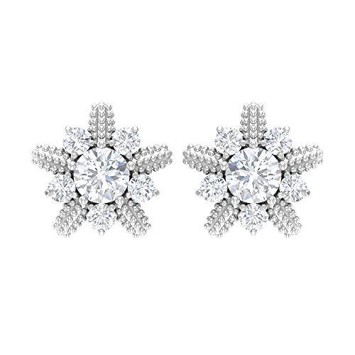 Pendientes de flor de diamante para mujer, pendientes de tuerca Milgrain con rosca, Metal, Moissanite,