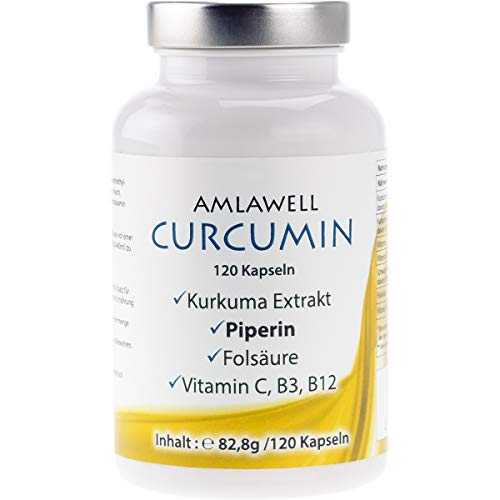 Kurkuma Kapseln/Curcuma Extrakt mit 95% Curcumin/plus Piperin, Vitamin C, Vitamine B3 und B12 (1)