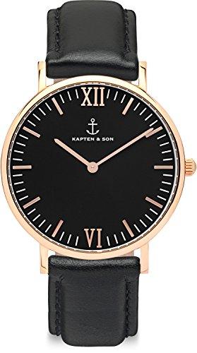 Kapten & Son Campus All Black Quarz-Armbanduhr (Damenarmband, Edelstahl, Roségold, Leder, schwarz)