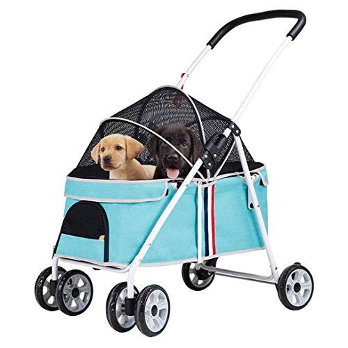 KLLKR Cochecito de Viaje para Gato Perro Mascota Compacto 4 Ruedas Plegable Ligero para Perro Carrito Cochecito para Correr Transportador de Viaje para Mascotas (Color:Blue)