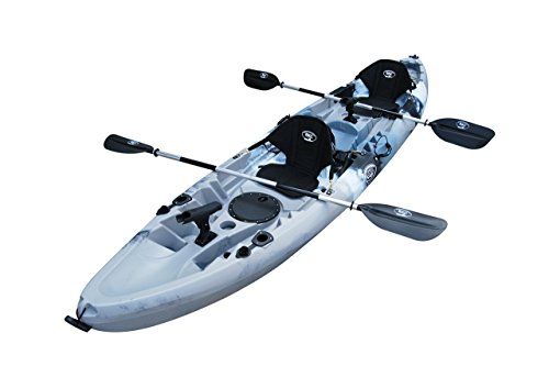 BKC UH-TK219 12 foot Tandem Sit On Top Kayak 2 or 3 person with 2 Paddles and Seats and 5 Fishing...