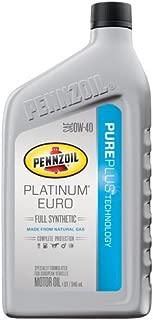 Pennzoil 550036272 Platinum Euro SAE 0W-40 Full Synthetic Motor Oil - 1 Quart