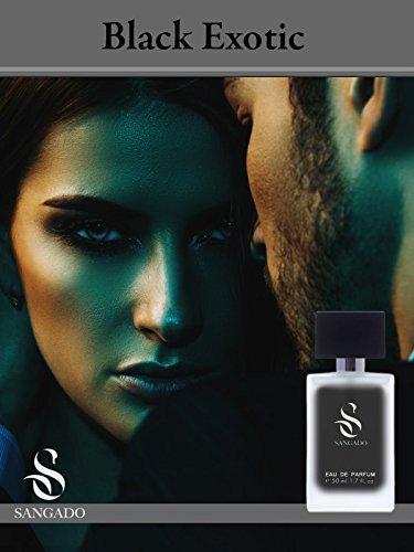 SANGADO Black Exotic Parfüm Unisex, 8-10 Stunden Langanhaltend, Luxuriös duftend, Holziges Aromatisches, Zarte französische Essenszen, Extra-konzentriert (Eau de Parfum), Ideales Geschenk, 50ml Spray