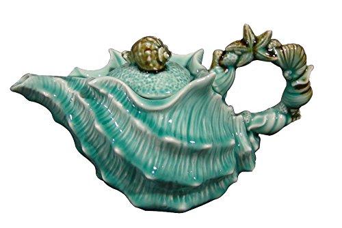 Blue Sky Ceramic Shell Figural Teapot, 10 x 5.5 x 6', Blue