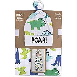6. Baby Essentials Store Soft Cotton Baby Dinosaur Swaddle Wrap Blanket with Matching Hat