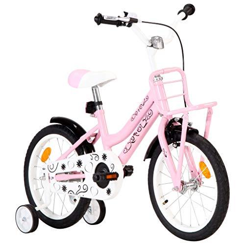 Festnight Bici per Bambini con Trasportino Bicicletta Bambini 2-6 Anni Bici Bambino Bambina 16 Pollici /12 Pollici /14 Pollici Manubrio Regolabile in Altezza Carrozzina Biciclette in Acciaio