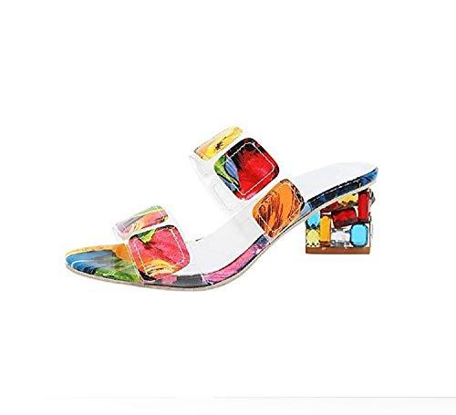 Sfit Damen Mule Sandalen Atmungsaktive Hausschuhe mit Bunt Blockabsatz Sommerschuhe Niedrige Pantoletten Offene Fischmund Freizeitschuhe Flip Flops (36 Absatz: 5,5 cm Größe: 230 mm, Mehrfarbig)