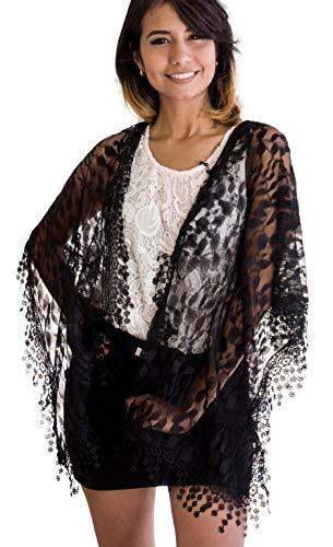 Women's lightweight Feminine lace teardrop fringe Lace Scarf Vintage Scarf Mesh Crochet Tassel Cotton Scarf for Women,One Size,Black 21