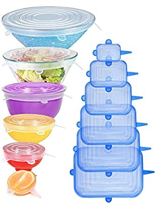 Longzon Silicone Stretch Lids Pack of 12, 6 Clear Round 6 Blue Rectangle, Miracle Lids Reusable Food Covers for Bowls, Cups, Cans, Fit Different Sizes & Shapes of Container, Dishwasher & Freezer Safe