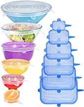 [12pack] Longzon Silicone Stretch Lids 6 Clear Round 6 Blue Rectangle, Magic Lids Reusable Food Covers for Bowls, Cups, Ca...