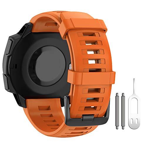 ANBEST - Cinturino di ricambio per Garmin Instinct Smart Watch, in morbido silicone, colore: Arancione