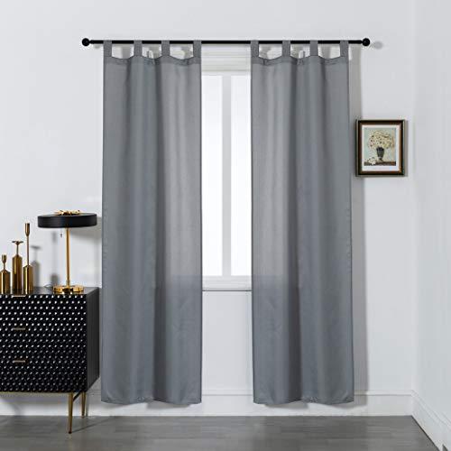 GIRASOLE Par de cortinas semitransparentes opacas de color liso, cortina ligera para salón, dormitorio, balcón, ventana e interior, 2 paneles con trabillas (gris, 70 x 240 cm)