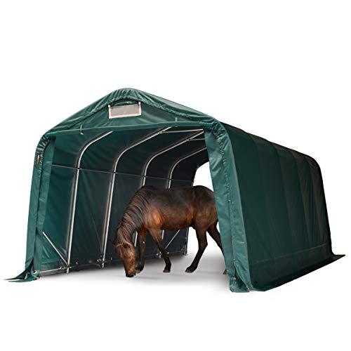 TOOLPORT Robustes Weidezelt 3,3x6 m wetterfeste ca. 550g/m² PVC Plane Unterstand für Pferde Offenstall Stall grün