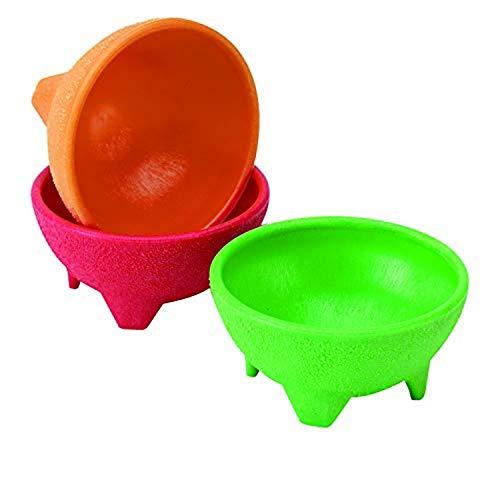 IMUSA USA Plastic Salsa Dishes 3-Piece, Red, Orange, Green