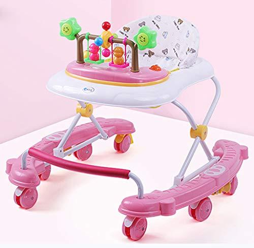 CJY-Cushion Einstellbare Baby Walker für Babys, Baby Walker mit Schaukelpferdemodus, Universal Wheeled Walker, Anti-Rollover Folding Walker für Mädchen Jungen 6-18 Monate Kleinkind,A