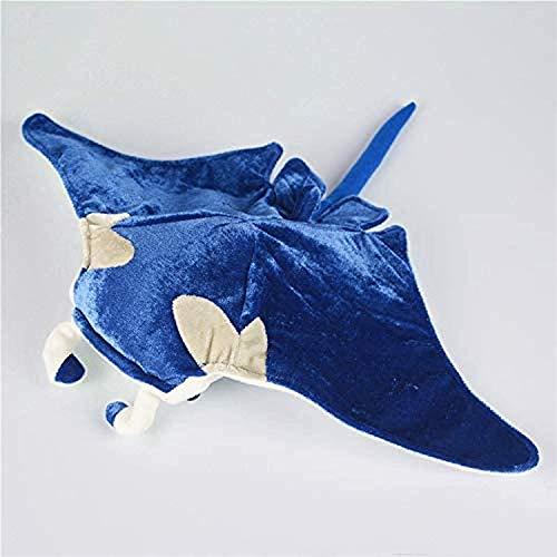 DINGX Plüschfischpuppe 32 cm Blauer Teufel Rochenfisch Plüschtier Riesenfledermaus Plüschtier Spielzeug, im wirklichen Leben weiches Aquarium Spielzeug E, das lebensecht ist Chuangze